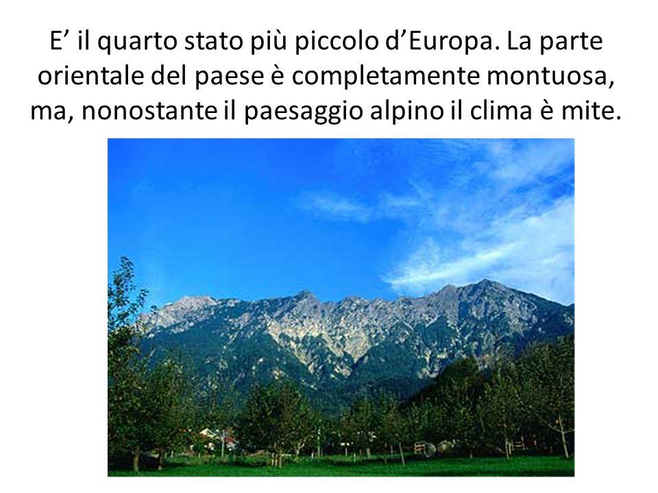 E il quarto stato più piccolo dEuropa. La parte orientale del paese è completamente montuosa, ma, nonostante il paesaggio alpino il clima è mite.