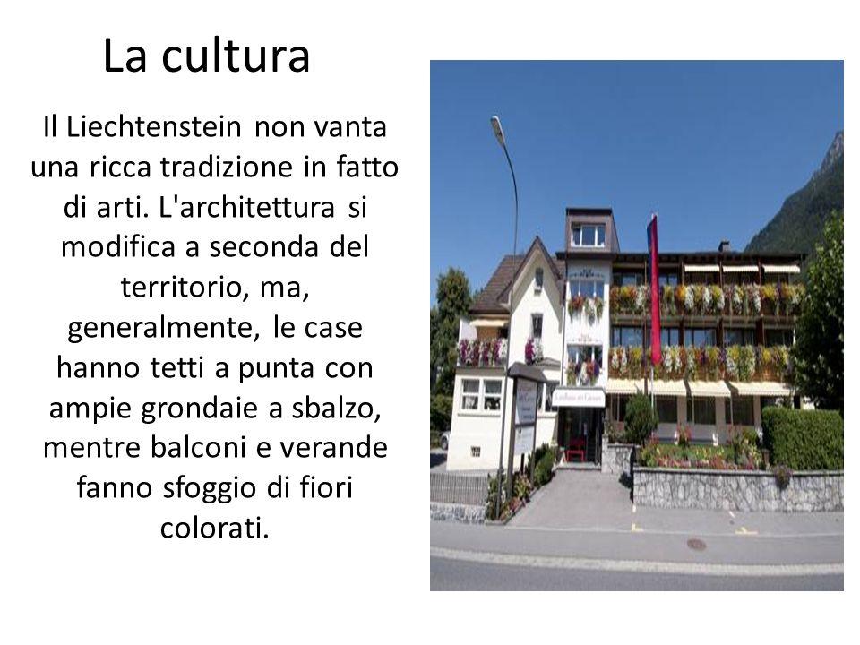 La cultura Il Liechtenstein non vanta una ricca tradizione in fatto di arti. L'architettura si modifica a seconda del territorio, ma, generalmente, le
