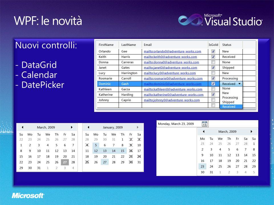 Nuova classe VisualStateManager: permette di definire laspetto di un controllo visuale in base al suo stato, per esempio lo stato premuto di un pulsante.