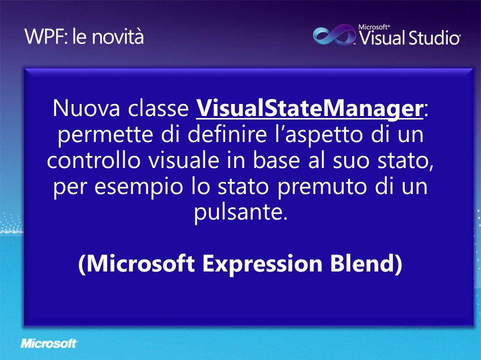 Nuova classe VisualStateManager: permette di definire laspetto di un controllo visuale in base al suo stato, per esempio lo stato premuto di un pulsan