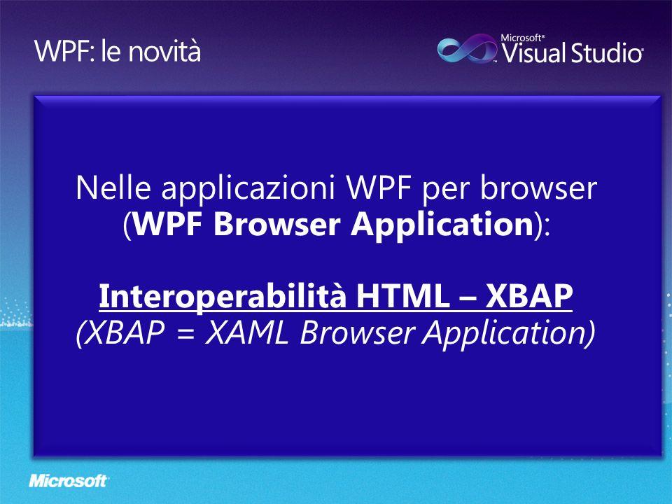Nelle applicazioni WPF per browser (WPF Browser Application): Interoperabilità HTML – XBAP (XBAP = XAML Browser Application)