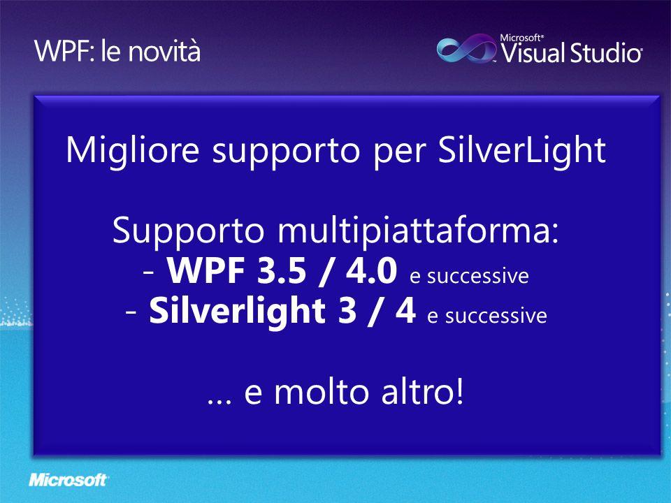 Migliore supporto per SilverLight Supporto multipiattaforma: - WPF 3.5 / 4.0 e successive - Silverlight 3 / 4 e successive … e molto altro!