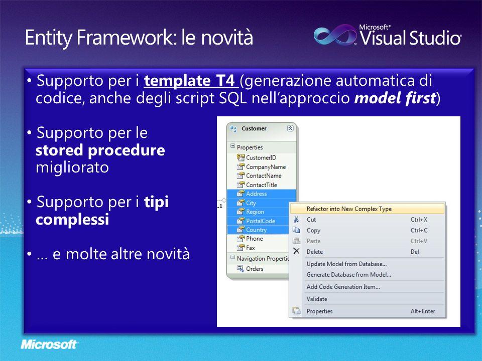 Supporto per i template T4 (generazione automatica di codice, anche degli script SQL nellapproccio model first) Supporto per le stored procedure migli