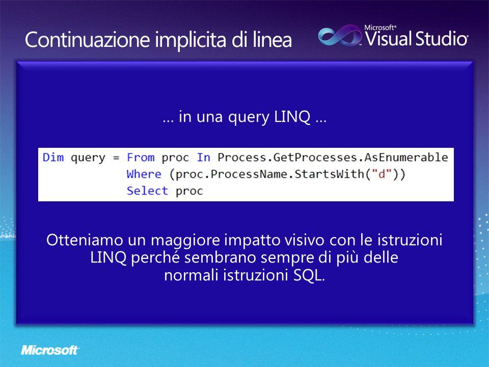 … in una query LINQ … Otteniamo un maggiore impatto visivo con le istruzioni LINQ perché sembrano sempre di più delle normali istruzioni SQL.