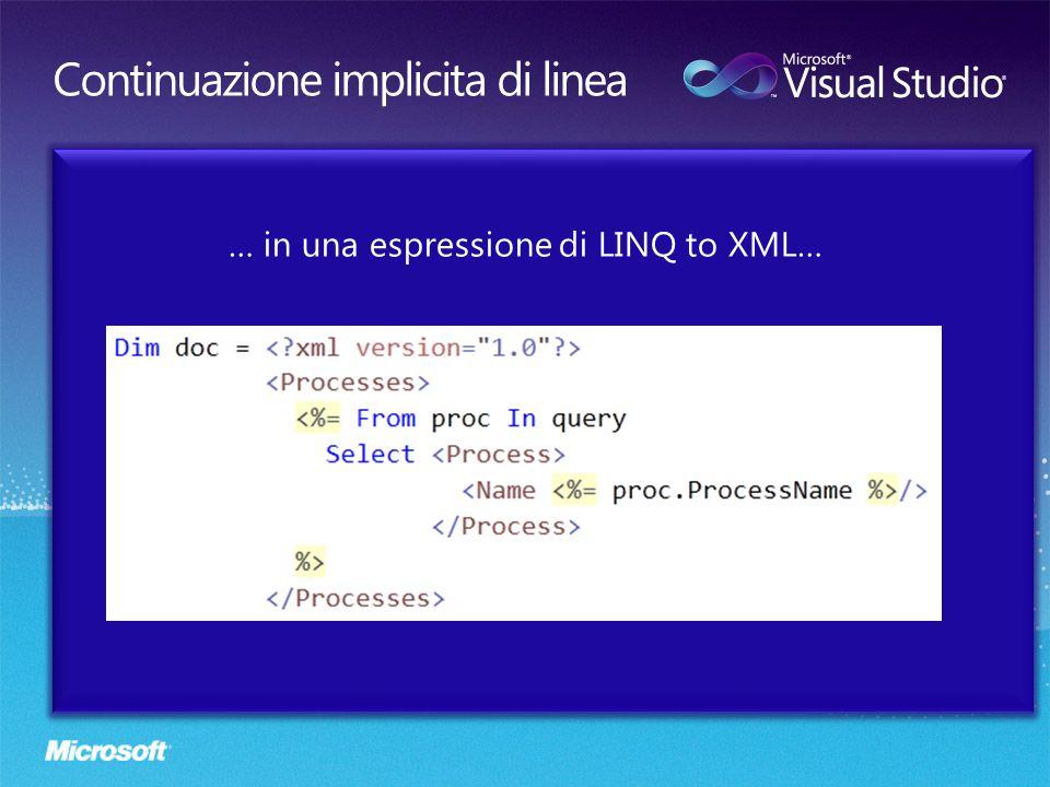 … in una espressione di LINQ to XML…