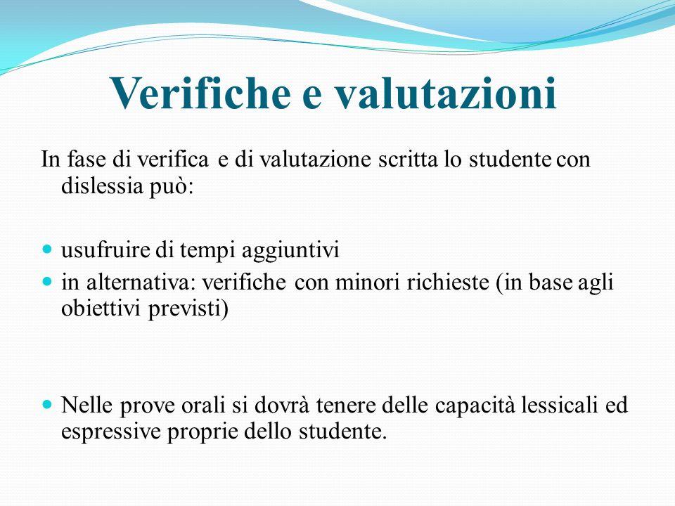 Verifiche e valutazioni In fase di verifica e di valutazione scritta lo studente con dislessia può: usufruire di tempi aggiuntivi in alternativa: veri
