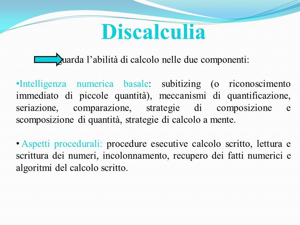 Discalculia riguarda labilità di calcolo nelle due componenti: Intelligenza numerica basale: subitizing (o riconoscimento immediato di piccole quantit