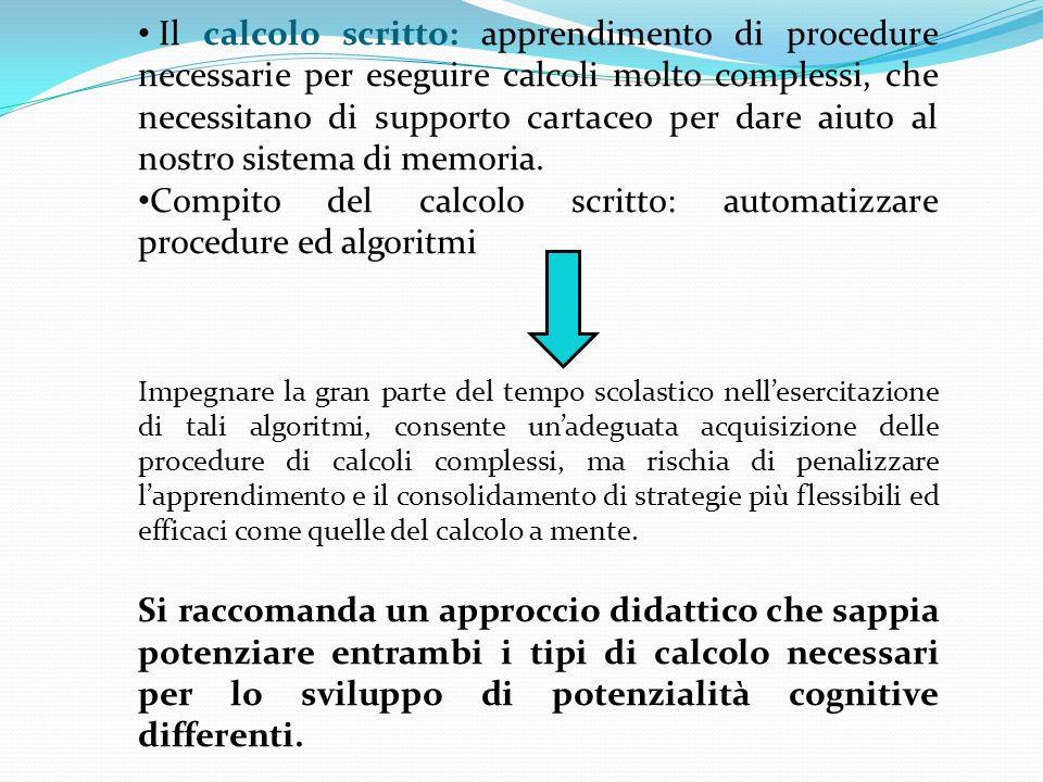 Il calcolo scritto: apprendimento di procedure necessarie per eseguire calcoli molto complessi, che necessitano di supporto cartaceo per dare aiuto al