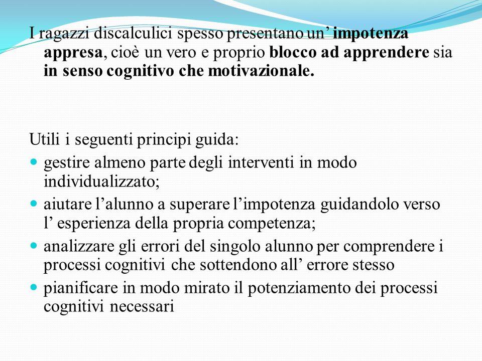 I ragazzi discalculici spesso presentano un impotenza appresa, cioè un vero e proprio blocco ad apprendere sia in senso cognitivo che motivazionale. U
