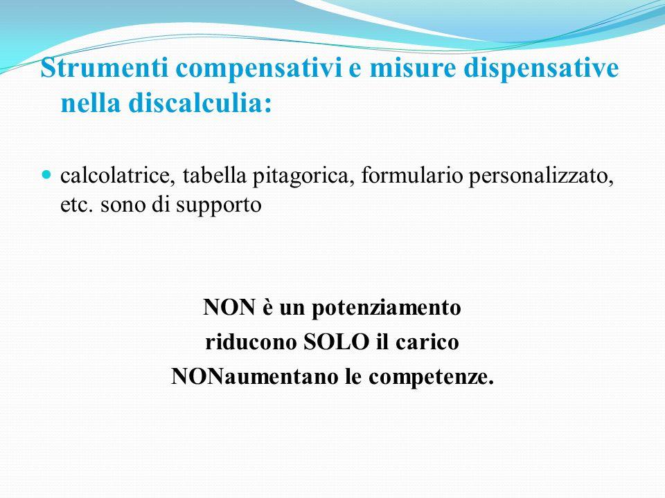 Strumenti compensativi e misure dispensative nella discalculia: calcolatrice, tabella pitagorica, formulario personalizzato, etc. sono di supporto NON