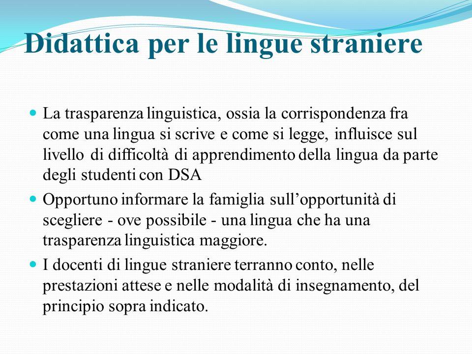 Didattica per le lingue straniere La trasparenza linguistica, ossia la corrispondenza fra come una lingua si scrive e come si legge, influisce sul liv