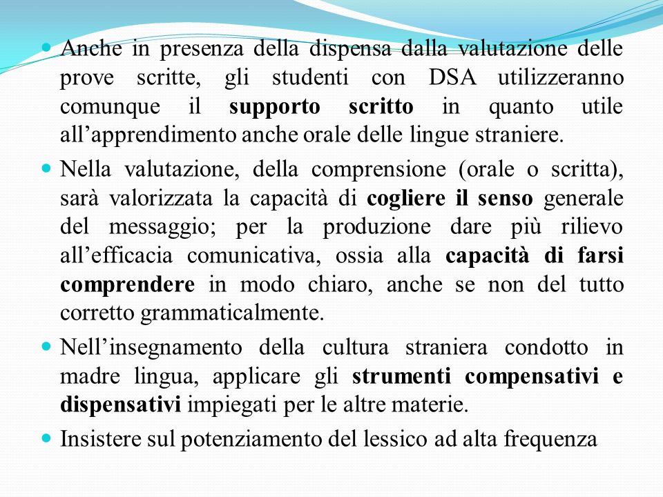 Anche in presenza della dispensa dalla valutazione delle prove scritte, gli studenti con DSA utilizzeranno comunque il supporto scritto in quanto util