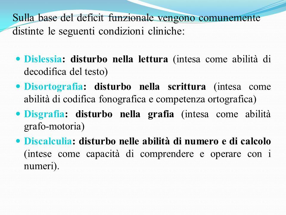 Sulla base del deficit funzionale vengono comunemente distinte le seguenti condizioni cliniche: Dislessia: disturbo nella lettura (intesa come abilità