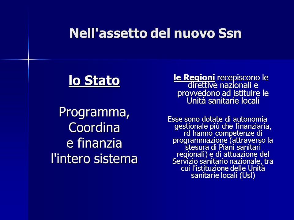 Nell'assetto del nuovo Ssn lo Stato Programma,Coordina e finanzia l'intero sistema le Regioni recepiscono le direttive nazionali e provvedono ad istit