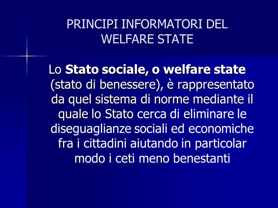 PRINCIPI INFORMATORI DEL WELFARE STATE Lo Stato sociale, o welfare state (stato di benessere), è rappresentato da quel sistema di norme mediante il qu