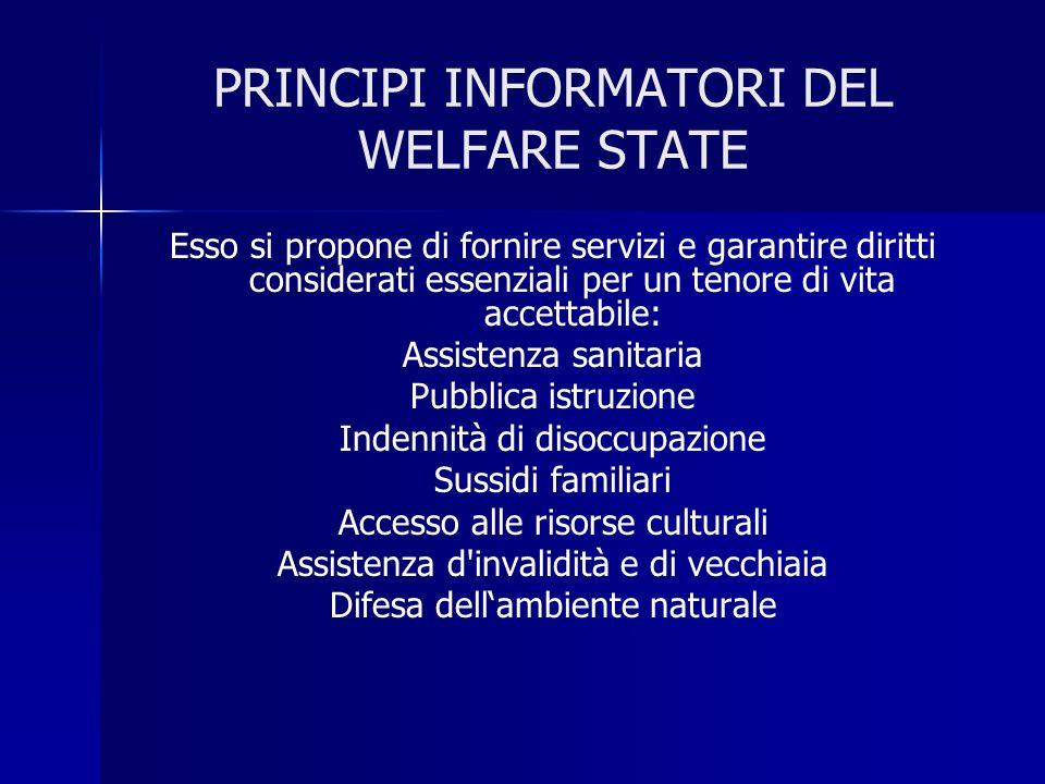 PRINCIPI INFORMATORI DEL WELFARE STATE Esso si propone di fornire servizi e garantire diritti considerati essenziali per un tenore di vita accettabile
