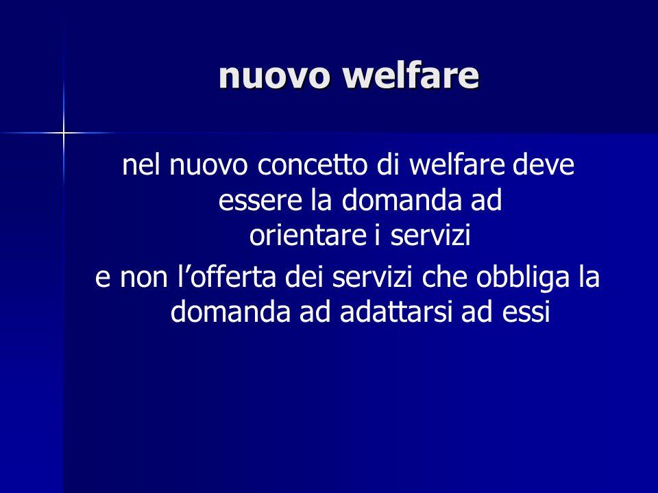 nuovo welfare nel nuovo concetto di welfare deve essere la domanda ad orientare i servizi e non lofferta dei servizi che obbliga la domanda ad adattar
