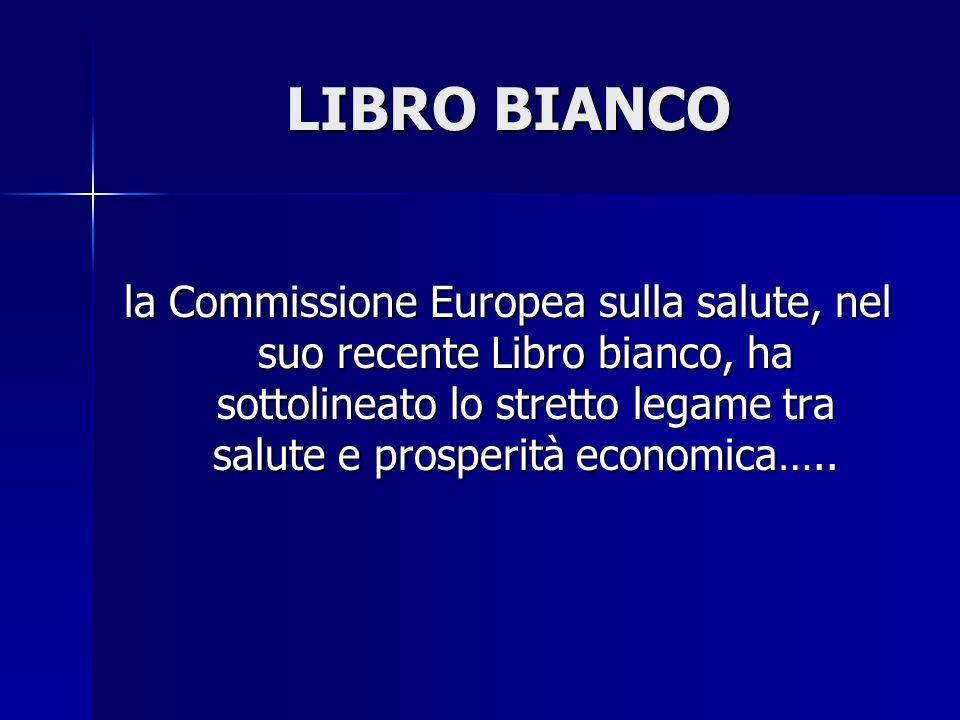 LIBRO BIANCO la Commissione Europea sulla salute, nel suo recente Libro bianco, ha sottolineato lo stretto legame tra salute e prosperità economica…..