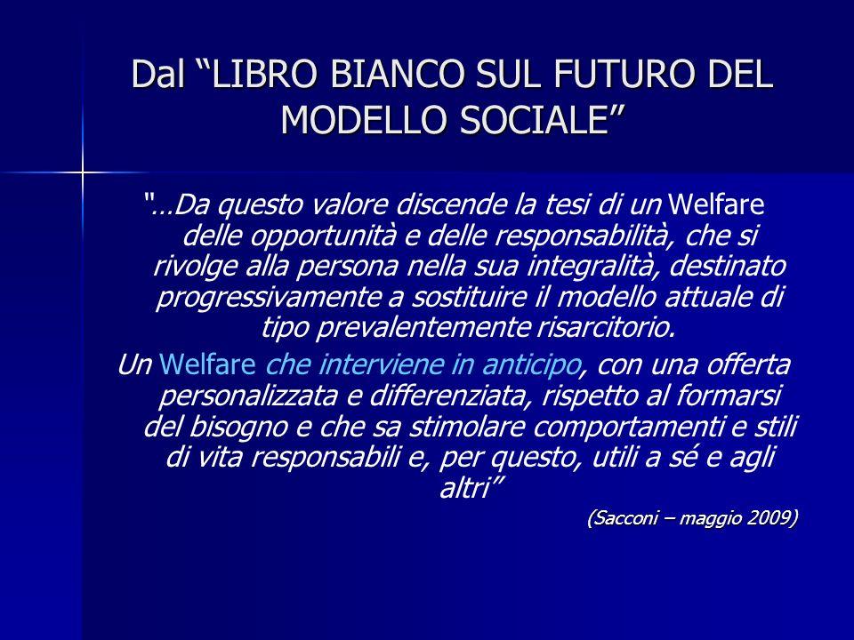 Dal LIBRO BIANCO SUL FUTURO DEL MODELLO SOCIALE …Da questo valore discende la tesi di un Welfare delle opportunità e delle responsabilità, che si rivo