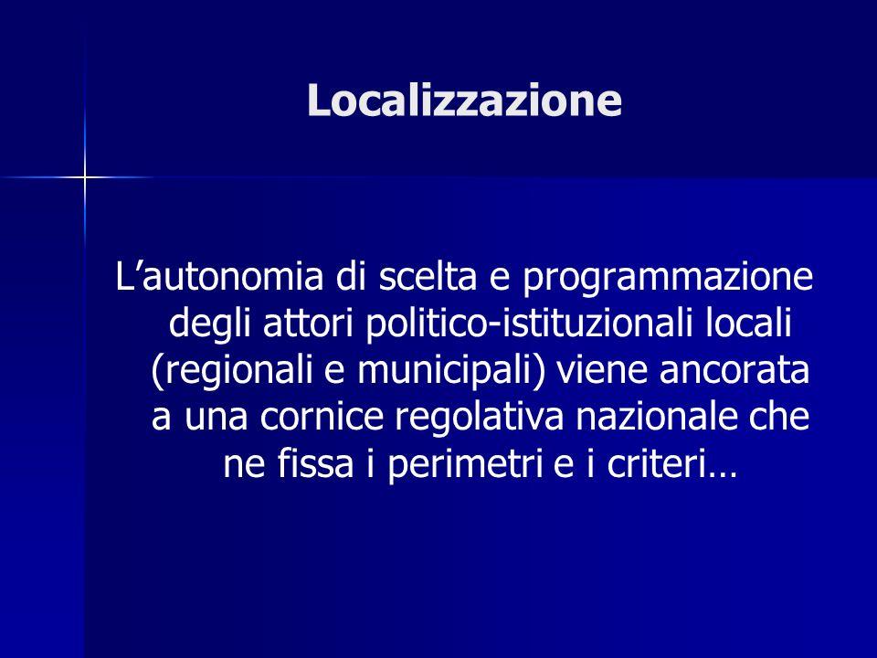 Localizzazione Lautonomia di scelta e programmazione degli attori politico-istituzionali locali (regionali e municipali) viene ancorata a una cornice