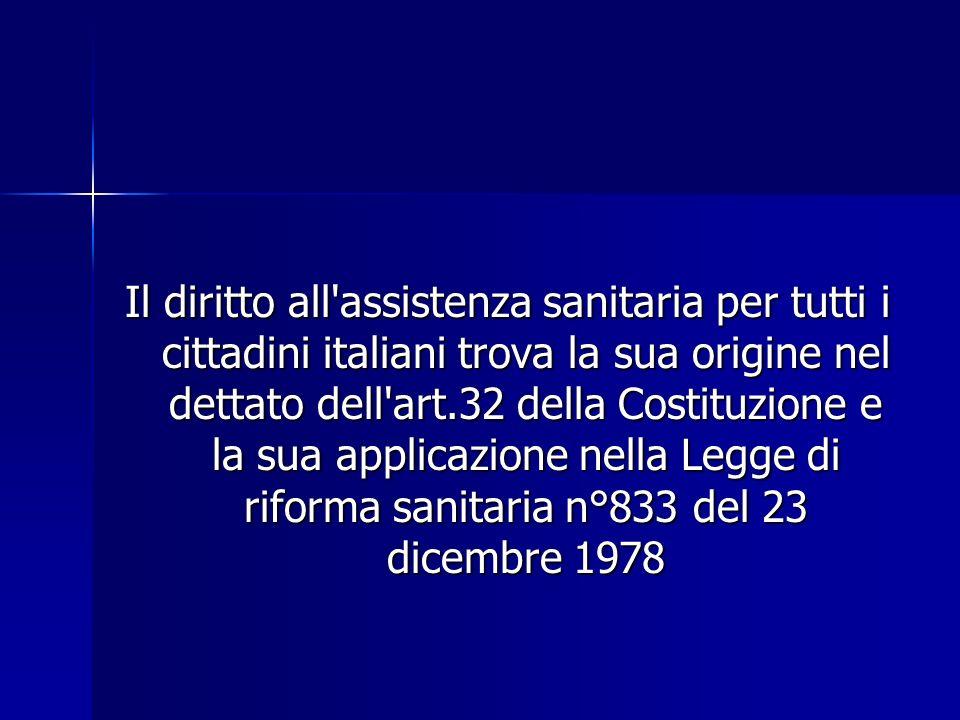 Il diritto all'assistenza sanitaria per tutti i cittadini italiani trova la sua origine nel dettato dell'art.32 della Costituzione e la sua applicazio