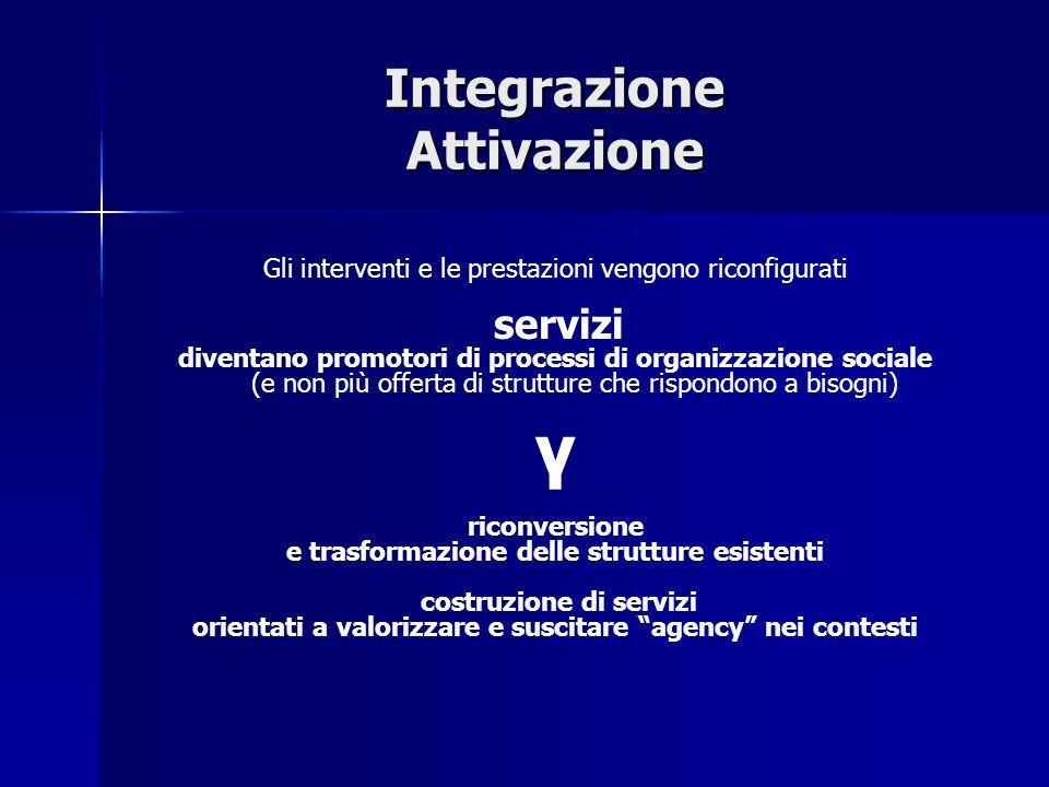 Integrazione Attivazione Gli interventi e le prestazioni vengono riconfigurati servizi diventano promotori di processi di organizzazione sociale (e no