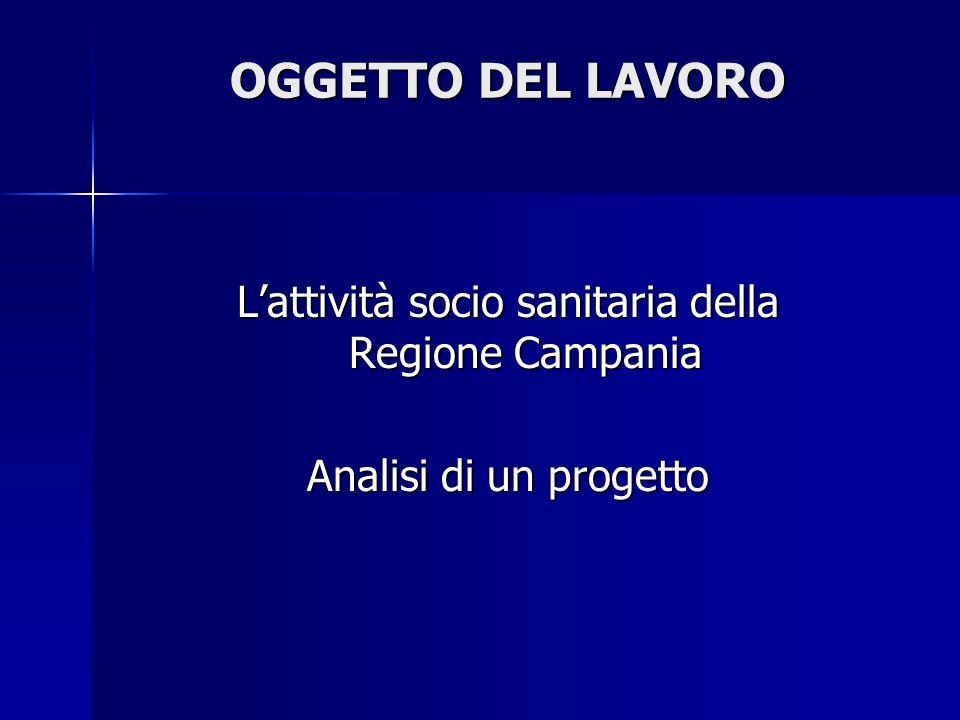 OGGETTO DEL LAVORO Lattività socio sanitaria della Regione Campania Analisi di un progetto