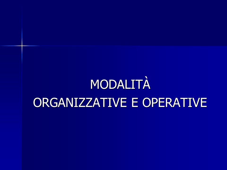 MODALITÀ ORGANIZZATIVE E OPERATIVE