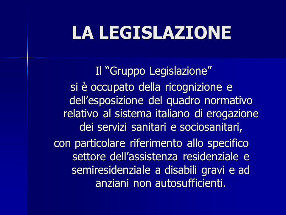 LA LEGISLAZIONE Il Gruppo Legislazione Il Gruppo Legislazione si è occupato della ricognizione e dellesposizione del quadro normativo relativo al sist