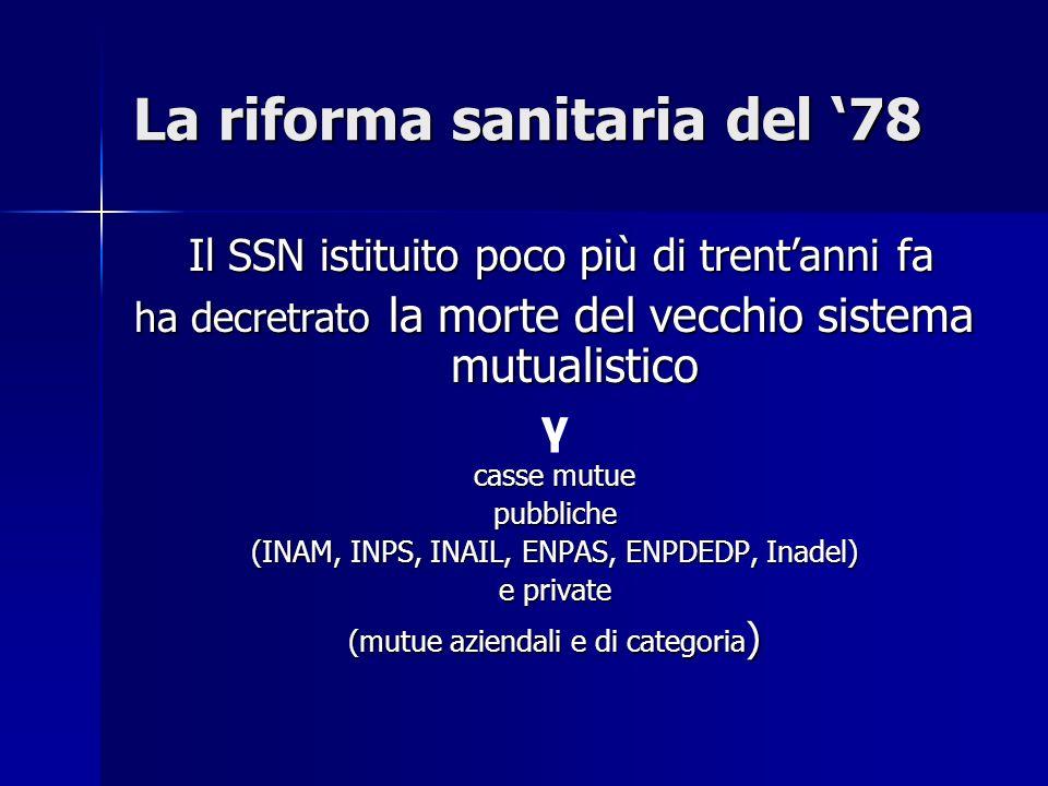 La riforma sanitaria del 78 Il SSN istituito poco più di trentanni fa Il SSN istituito poco più di trentanni fa ha decretrato la morte del vecchio sis