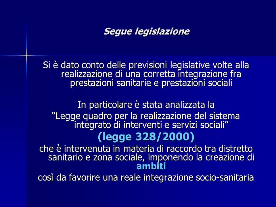 Segue legislazione Si è dato conto delle previsioni legislative volte alla realizzazione di una corretta integrazione fra prestazioni sanitarie e pres