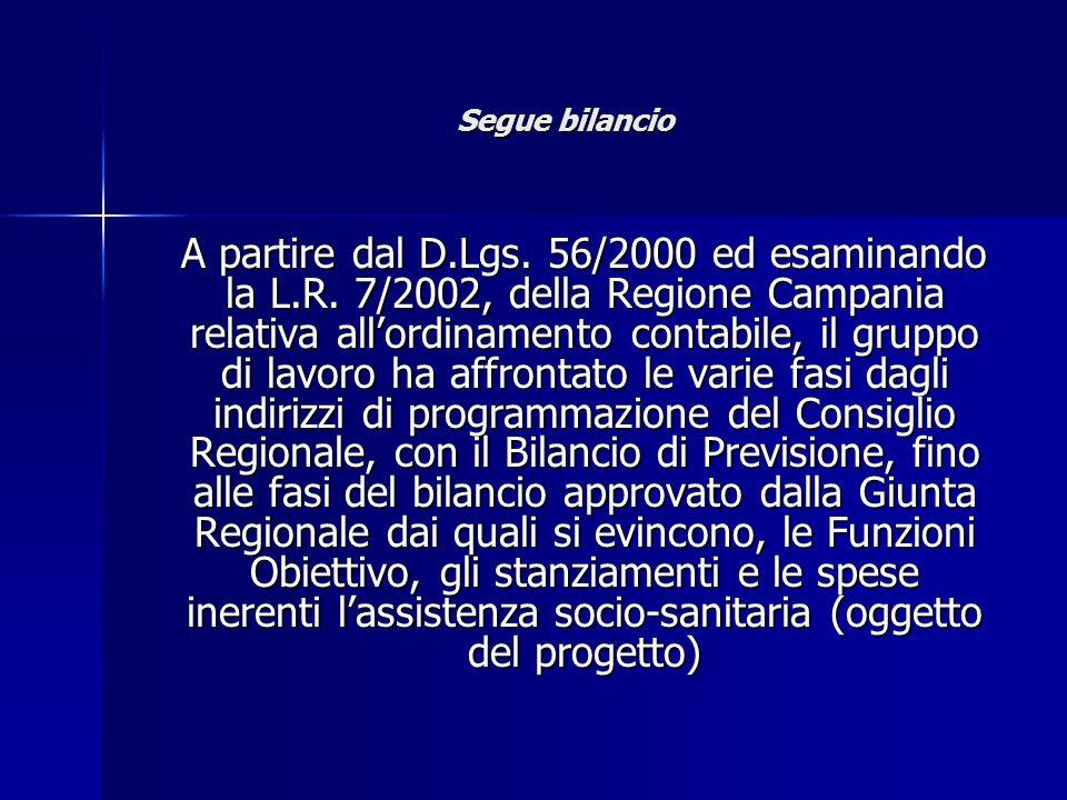 Segue bilancio A partire dal D.Lgs. 56/2000 ed esaminando la L.R. 7/2002, della Regione Campania relativa allordinamento contabile, il gruppo di lavor