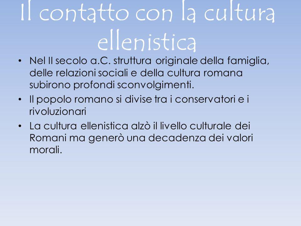 Il contatto con la cultura ellenistica Nel II secolo a.C. struttura originale della famiglia, delle relazioni sociali e della cultura romana subirono