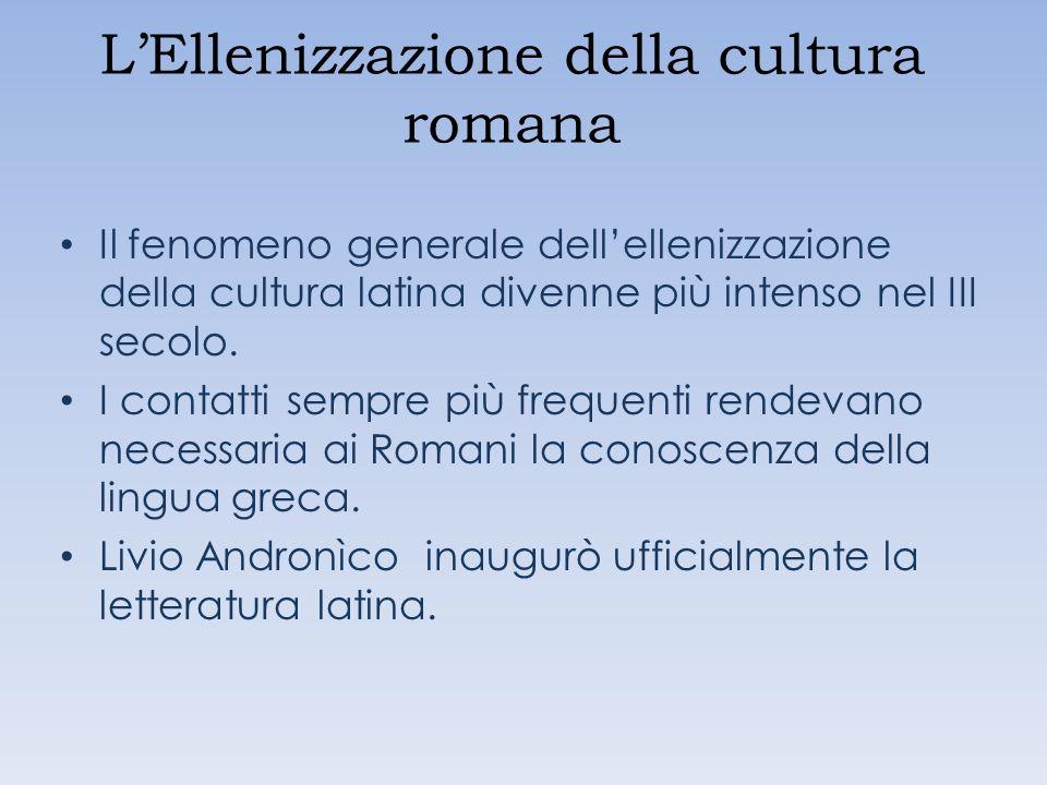 LEllenizzazione della cultura romana Il fenomeno generale dellellenizzazione della cultura latina divenne più intenso nel III secolo. I contatti sempr