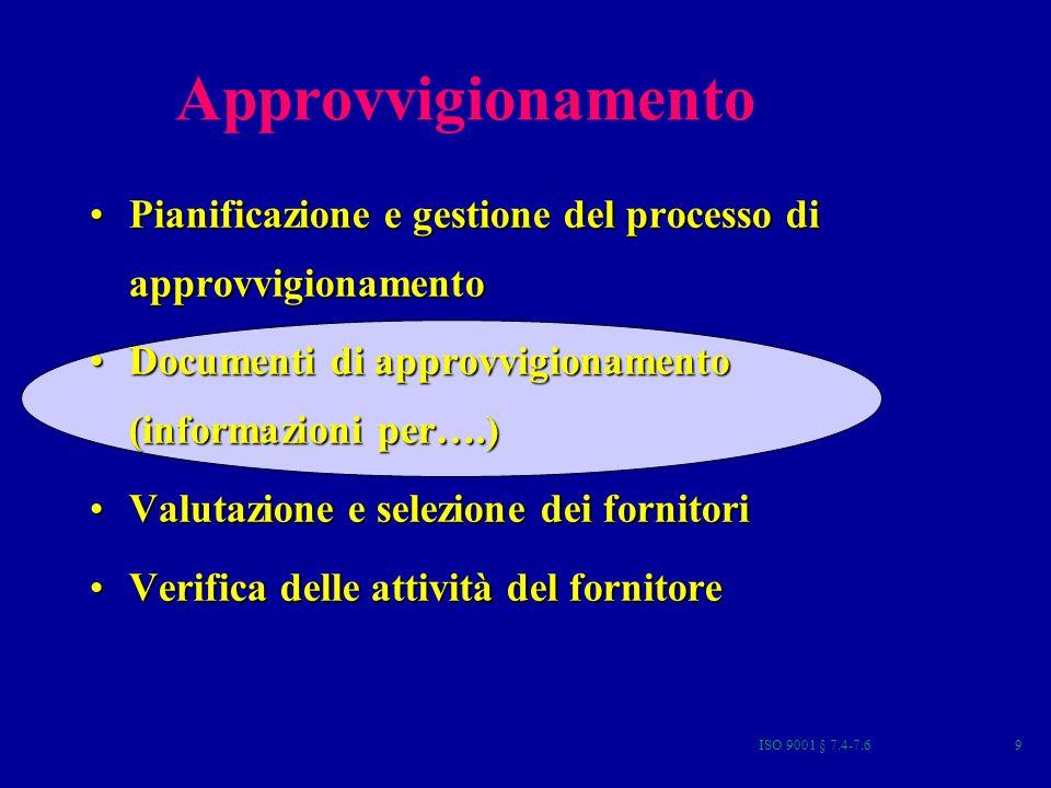 ISO 9001 § 7.4-7.630 VERIFICA DELLE ATTIVITA DEL FORNITORE La verifica è effettuata in relazione agli Accordi relativi alla AQ/GQ Può essere prevista la predisposizione di appositi documenti di pianificazione delle attività di verifica (ED, PdP, PCQ,GCQ…) Spesso lattività di verifica è assegnata ad un ispettore o Rappresentante dellAcquirente Lorganizzazione dovrebbe attivare un processo di verifica del prodotto approvvigionato per assicurarsi della sua conformità alle specifiche.
