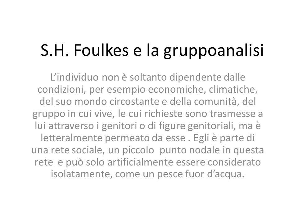 S.H. Foulkes e la gruppoanalisi Lindividuo non è soltanto dipendente dalle condizioni, per esempio economiche, climatiche, del suo mondo circostante e