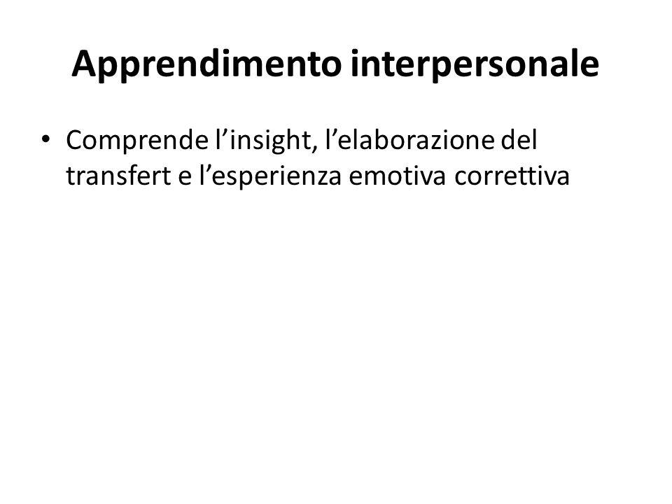 Apprendimento interpersonale Comprende linsight, lelaborazione del transfert e lesperienza emotiva correttiva