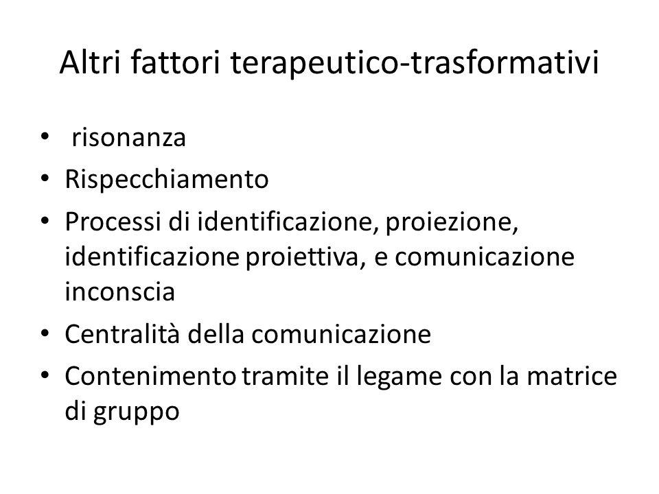 Altri fattori terapeutico-trasformativi risonanza Rispecchiamento Processi di identificazione, proiezione, identificazione proiettiva, e comunicazione