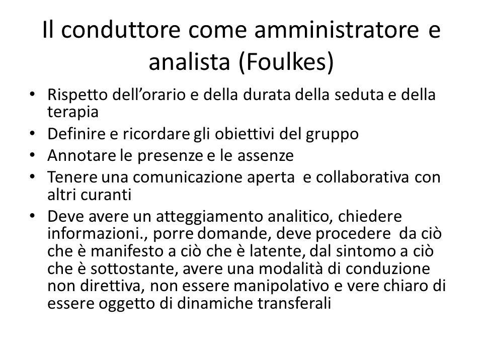 Il conduttore come amministratore e analista (Foulkes) Rispetto dellorario e della durata della seduta e della terapia Definire e ricordare gli obiett