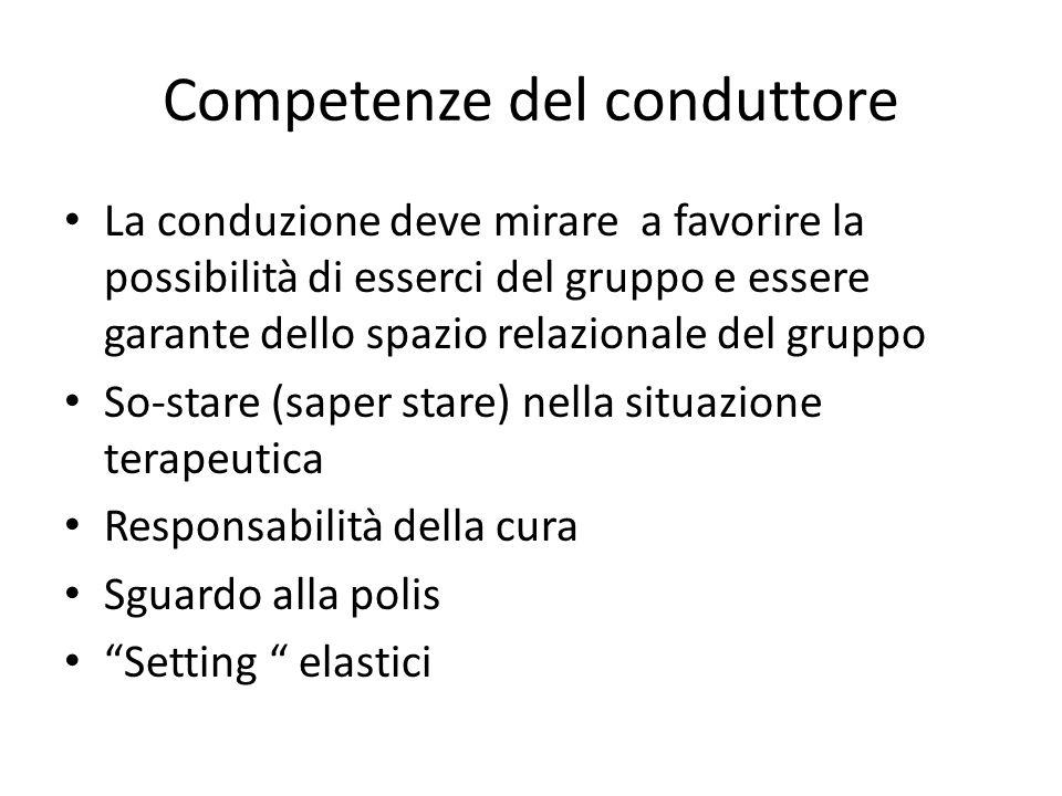 Competenze del conduttore La conduzione deve mirare a favorire la possibilità di esserci del gruppo e essere garante dello spazio relazionale del grup