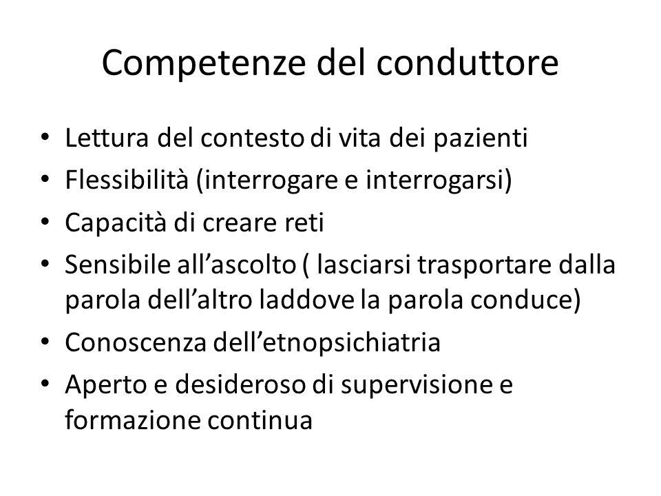 Competenze del conduttore Lettura del contesto di vita dei pazienti Flessibilità (interrogare e interrogarsi) Capacità di creare reti Sensibile allasc