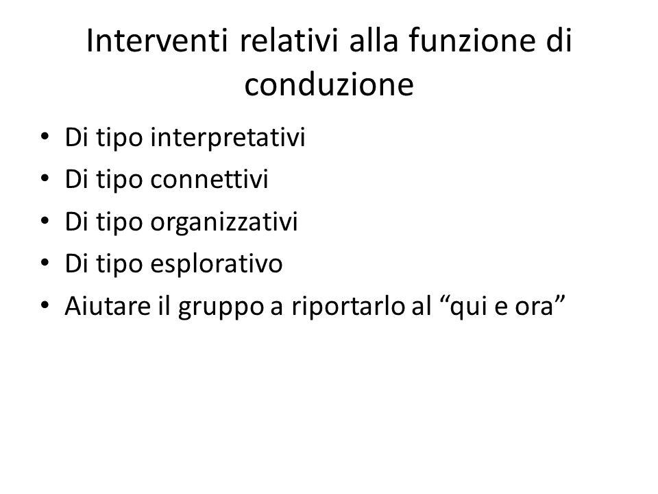 Interventi relativi alla funzione di conduzione Di tipo interpretativi Di tipo connettivi Di tipo organizzativi Di tipo esplorativo Aiutare il gruppo