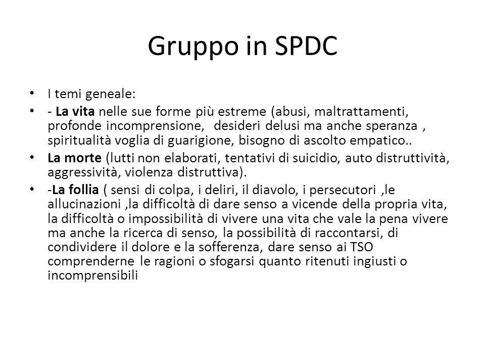 Gruppo in SPDC I temi geneale: - La vita nelle sue forme più estreme (abusi, maltrattamenti, profonde incomprensione, desideri delusi ma anche speranz