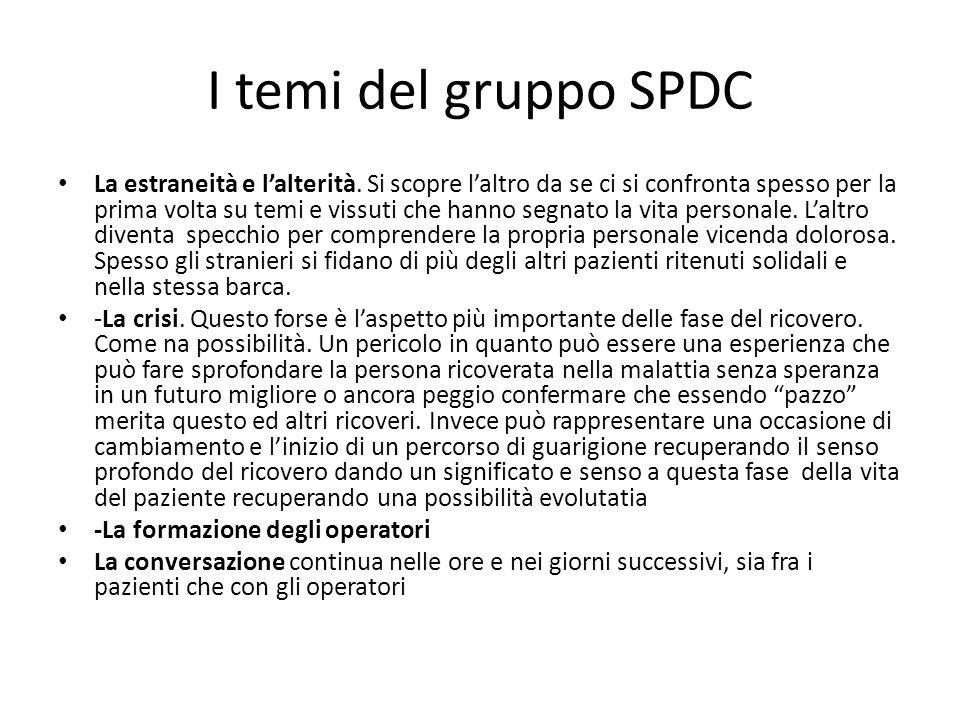 I temi del gruppo SPDC La estraneità e lalterità. Si scopre laltro da se ci si confronta spesso per la prima volta su temi e vissuti che hanno segnato