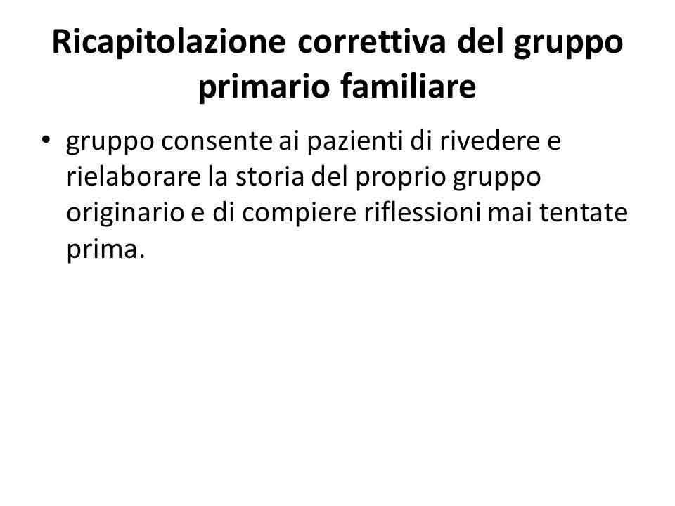 Ricapitolazione correttiva del gruppo primario familiare gruppo consente ai pazienti di rivedere e rielaborare la storia del proprio gruppo originario
