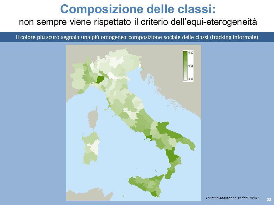 Composizione delle classi: non sempre viene rispettato il criterio dellequi-eterogeneità Il colore più scuro segnala una più omogenea composizione soc