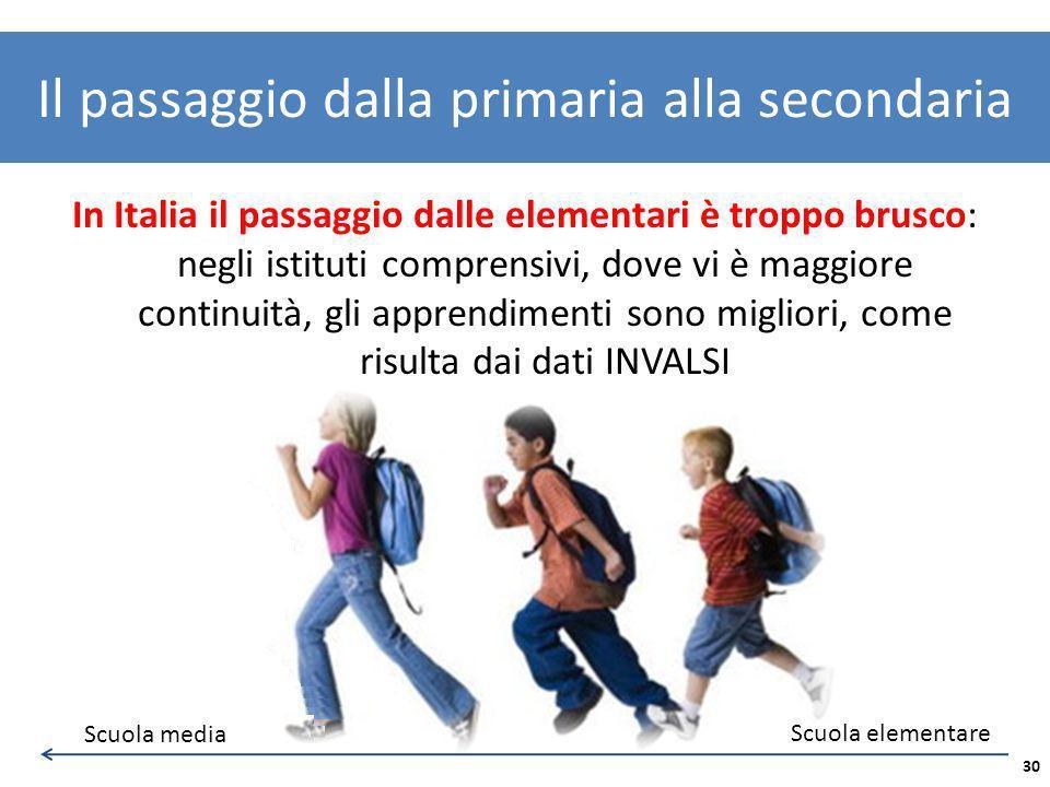 In Italia il passaggio dalle elementari è troppo brusco: negli istituti comprensivi, dove vi è maggiore continuità, gli apprendimenti sono migliori, c