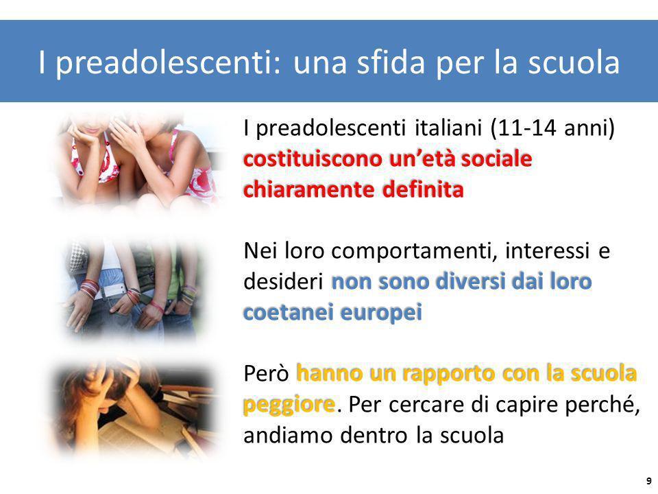 I preadolescenti: una sfida per la scuola costituiscono unetà sociale chiaramente definita I preadolescenti italiani (11-14 anni) costituiscono unetà