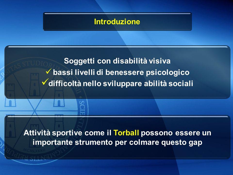 Introduzione Soggetti con disabilità visiva bassi livelli di benessere psicologico difficoltà nello sviluppare abilità sociali Attività sportive come