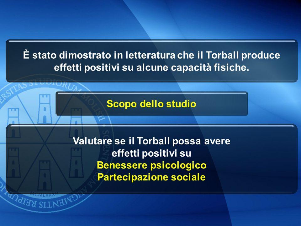 È stato dimostrato in letteratura che il Torball produce effetti positivi su alcune capacità fisiche. Valutare se il Torball possa avere effetti posit